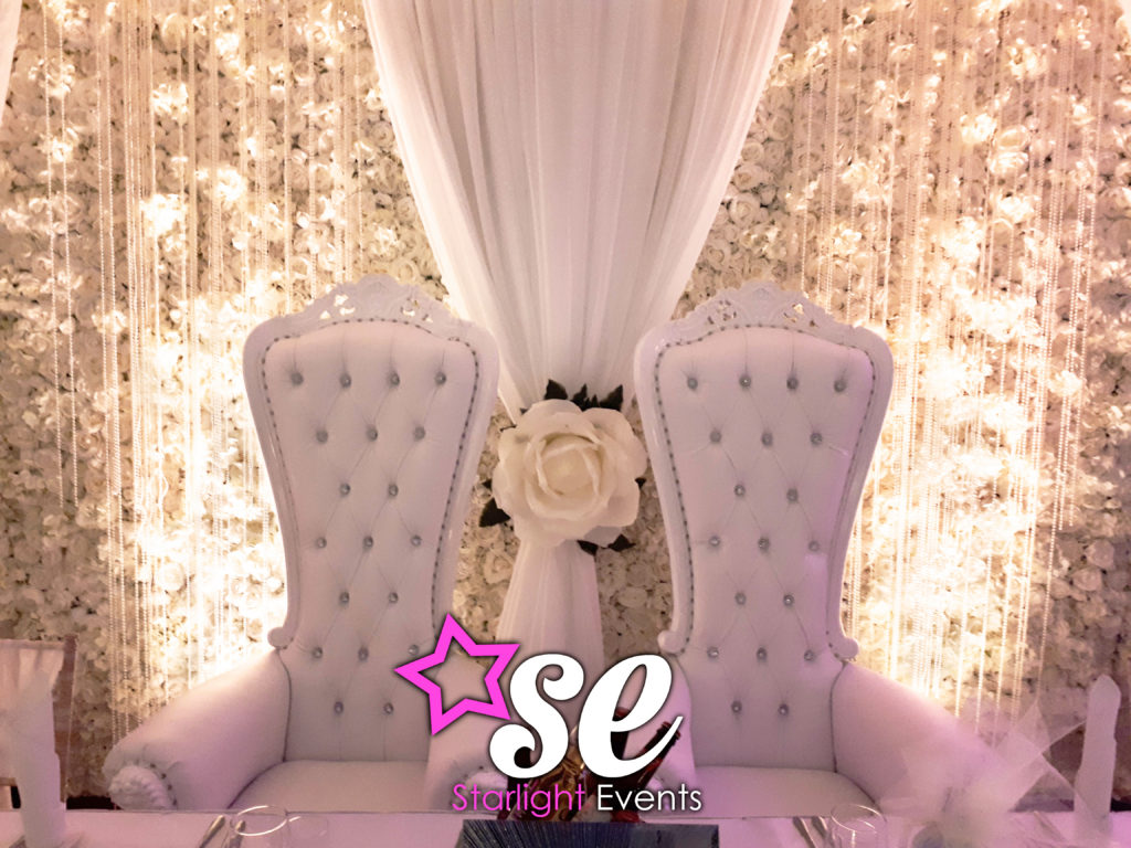 Throne and flower wall backdrop hire south Wales