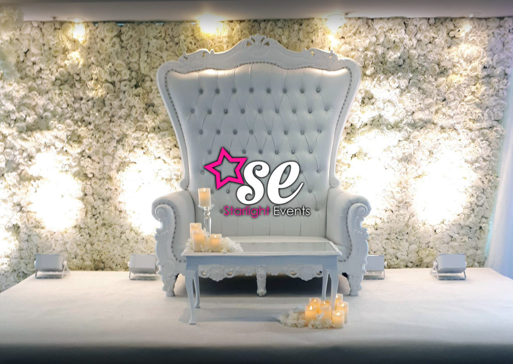 Double White Throne And Flower Wall St Davids Hotel Cardiff