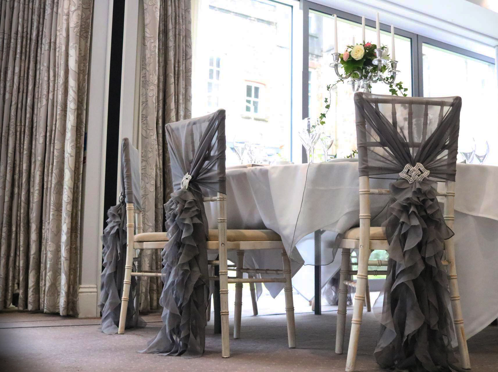 Limewash Chiavari Chair with Grey Hood