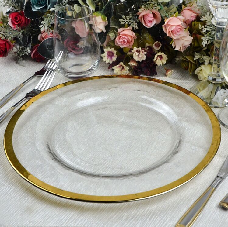 Gold rimmed charger plate