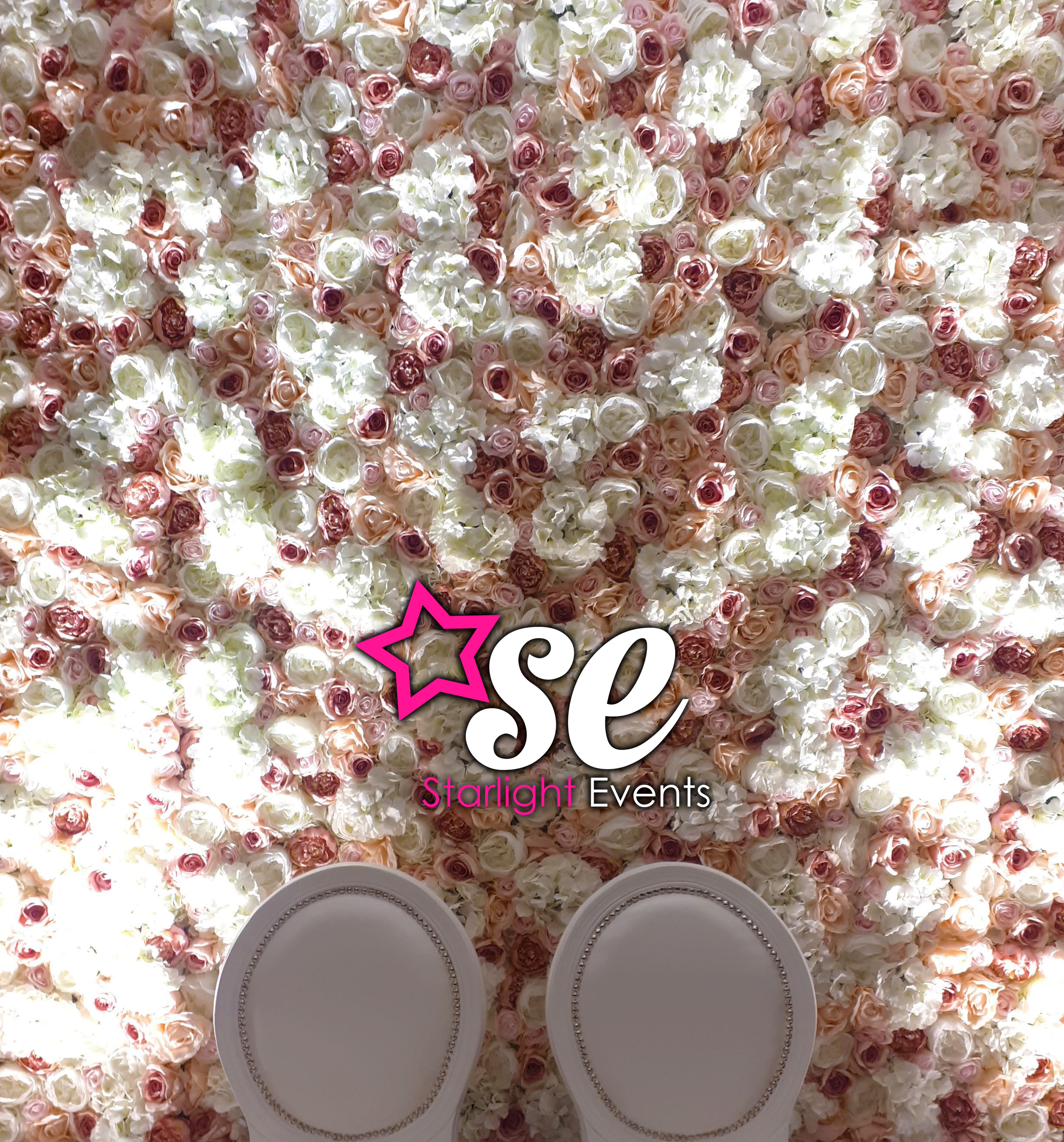 Pink and White Flower Wall Hire